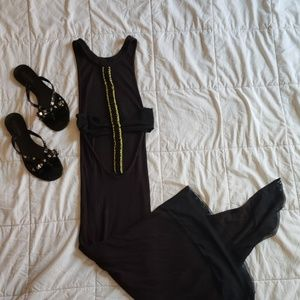 Guess black asymmetrical open back dress